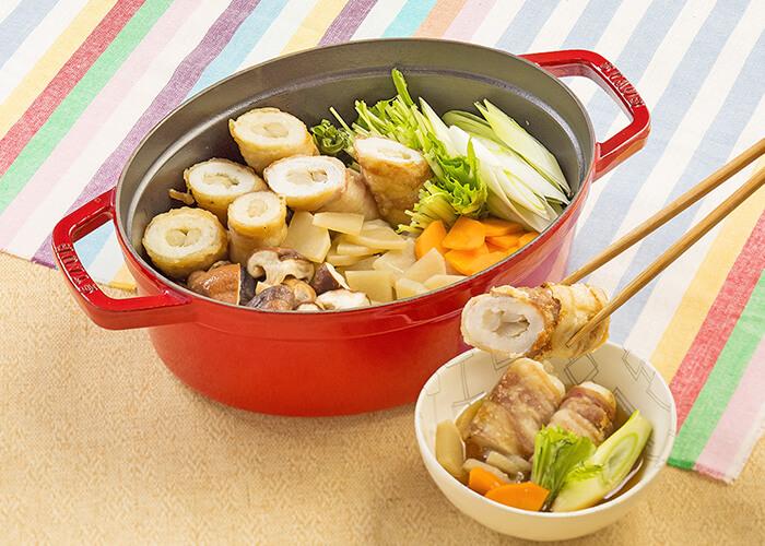 肉巻き きりたんぽみそ鍋